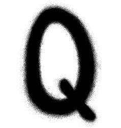 Sprayed q font graffiti in black over white vector