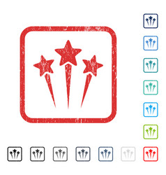 Star salute icon rubber watermark vector