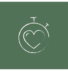 Stopwatch with heart icon drawn in chalk vector image vector image