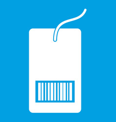 Tag with bar code icon white vector