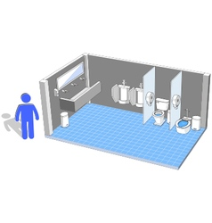 Toilet interior for male with 3d facilities vector