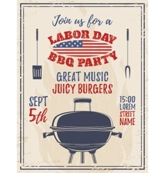 Vintage labor day barbecue party background vector