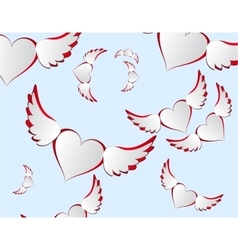 White hearts with wings flying in the sky vector image vector image
