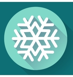 White snowflake flat icon with long shadow vector image vector image