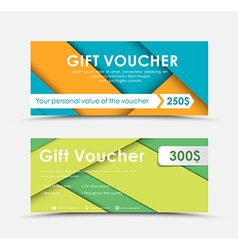 Design of gift vouchers in style of material vector