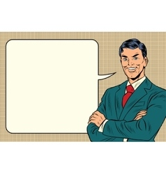 Successful retro businessman comic bubble vector