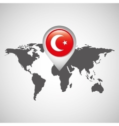 world map with pointer flag turkey vector image