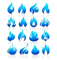 Fire flames blue set icons vector image