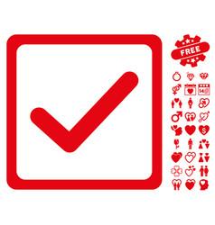 Checkbox icon with valentine bonus vector
