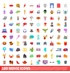 100 movie icons set cartoon style vector image