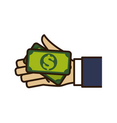 Hand with cash vector