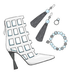 Womens shoes heels with earrings bracelet and vector