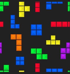 Seamless pattern brick pieces game background vector