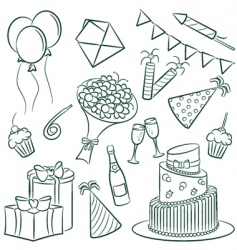 birthday doodle vector image