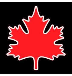 Red maple leaf with contours vector