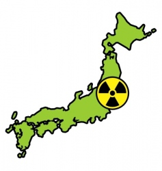 Radiation sign on japanese map vector
