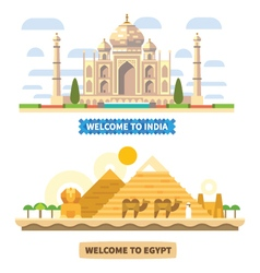 Welcome to India and Egypt vector image