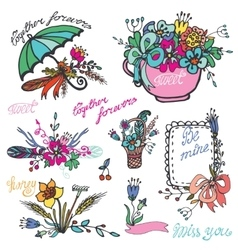 Doodle vintage floral grouphand sketched element vector