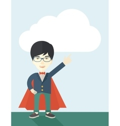 Hero chinese man pointing up high to the sky vector