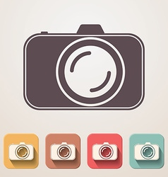 Professional photocamera flat icons set fadding vector