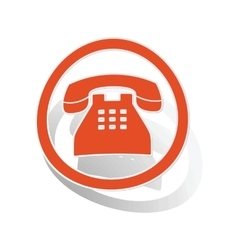 Telephone sign sticker orange vector