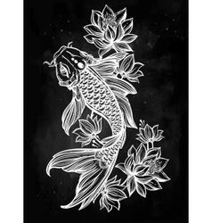Hand drawn fish koi carp with flowers vector