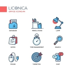Set of modern office thin line flat design icons vector