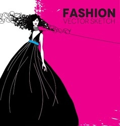 Fashion model in a black dress vector