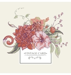 Vintage botanical greeting card with blooming vector