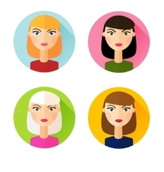 Set of flat style icons girls hair styles vector