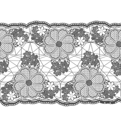 Seamless lace tape grid and floral elements vector