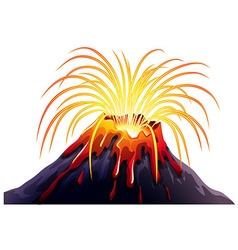 Volcano eruption with hot lava vector