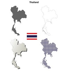 Thailand blank detailed outline map set vector