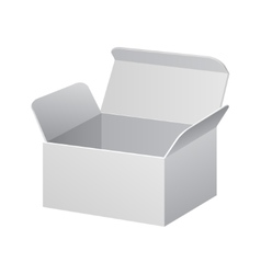 White cardboard carton package box open on white vector