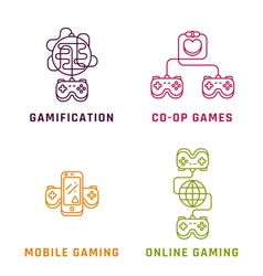 Game related concepts line style vector