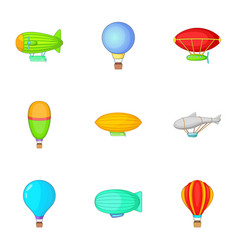 Air balloon and airship icons set cartoon style vector