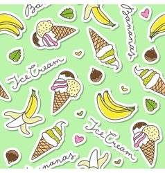 bananas and ice cream cones vector image vector image