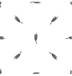 Barley spike pattern seamless black vector