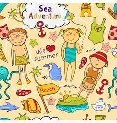 Beach seamless pattern in doodle style vector image vector image