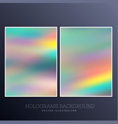 Beautiful hologram background set vector