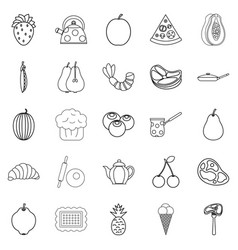 Berry icons set outline style vector