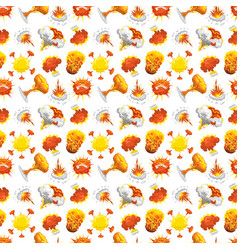 Bomb explosion effect seamless pattern vector