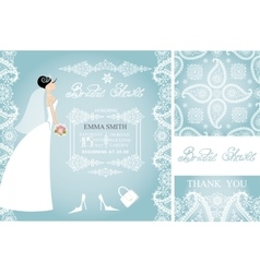Bridal showerwedding cardsbridewinter pattern vector