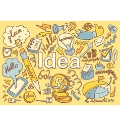 Business Idea doodles icon set sketch drawn vector image