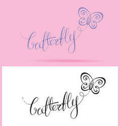 butterfly lettering vector image