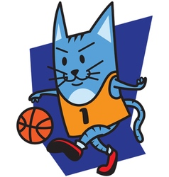 Cat playing basketball vector image