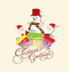 Christmas Card with Santa Claus snowman and gift vector image vector image