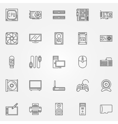 Computer components icons set vector