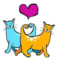 Couple of cats in love Red heart above them on vector image vector image