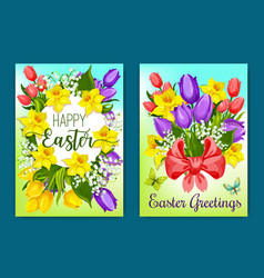 Easter flowers greeting card with floral wreath vector
